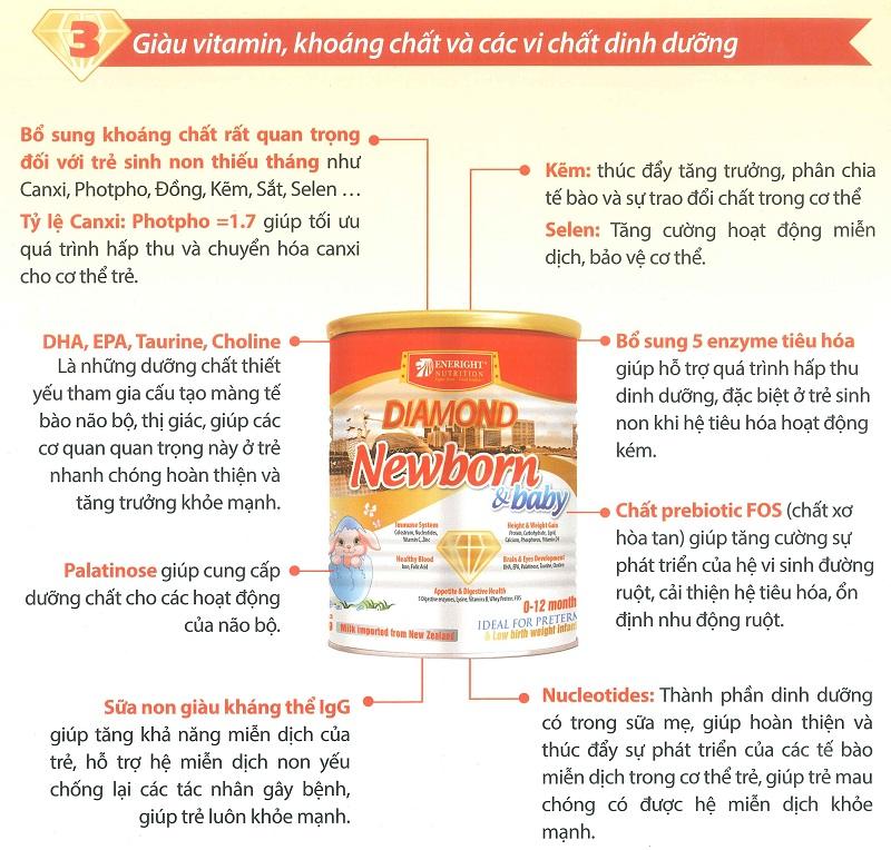 Sữa diamond newborn & baby giàu vitamin, khoáng chất và các vi chất dinh dưỡng