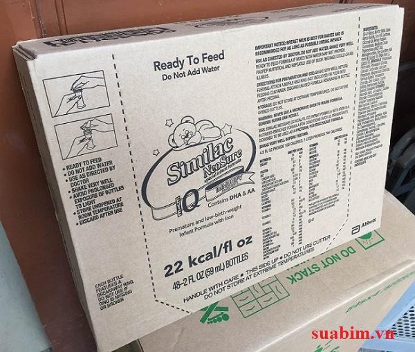 1 Thùng sữa nước similac neosure 22 có 48 ống sữa, mỗi ống 59 ml, cứ 30ml sữa cung cấp cho bé 22 kcal năng lượng