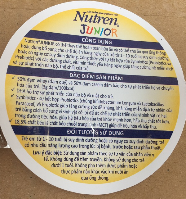 Tem phụ sữa nutren junior 2