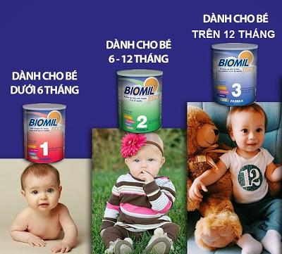 Sữa biomil có các số cho bé đến 3 tuổi