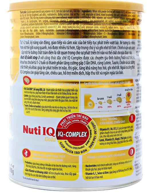 Thành phần dinh dưỡng sữa nuti iq gold step 3