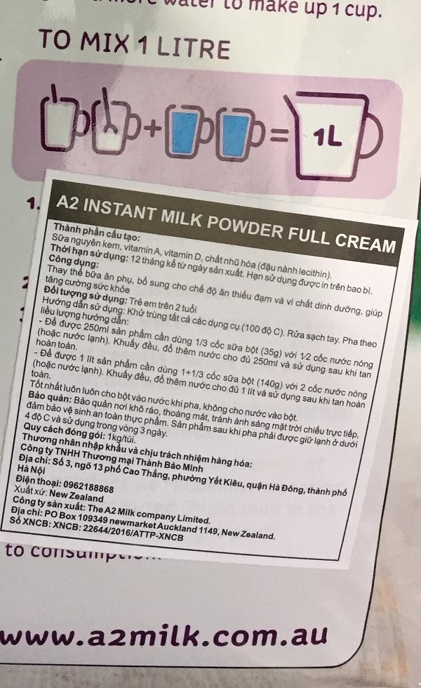 sữa a2 dành cho trẻ mấy tuổi