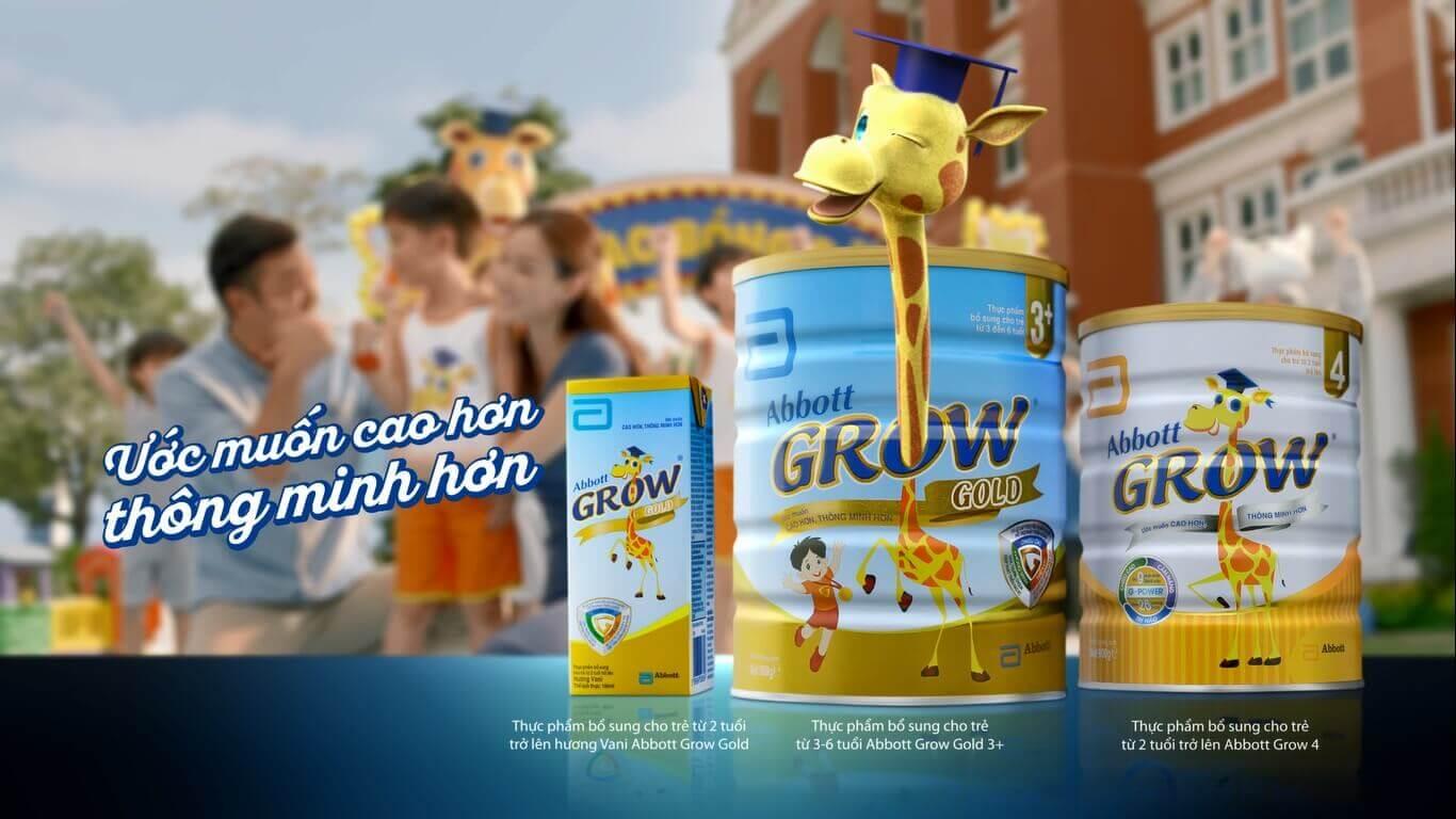 sữa abbott grow gold 3+ 900g giúp bé cao cao hơn nữa