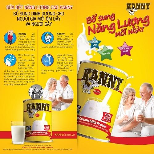 Sữa Kanny sản phẩm dinh dưỡng cao năng lượng cho đa dạng người dùng