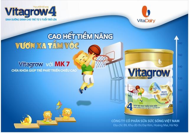 Sữa Vitagrow dinh dưỡng hỗ trợ phát triển chiều cao tối ưu cho bé