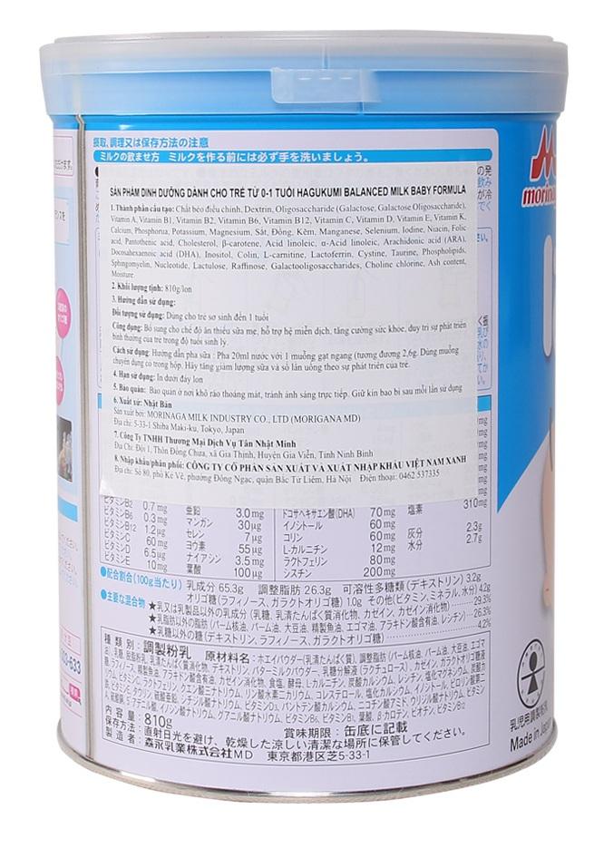 thành phần dinh dưỡng sữa morinaga số 0