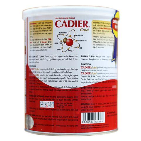Thông tin dinh dưỡng sữa cadier gold
