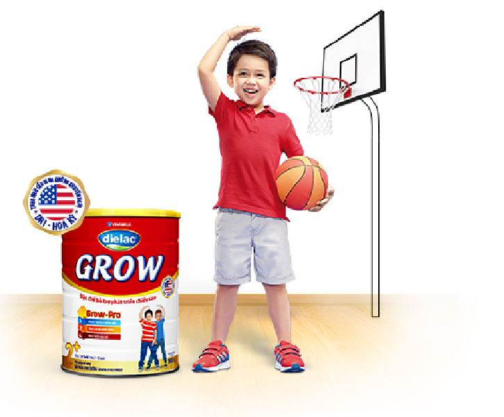 Sữa Dielac Grow giúp bé tăng chiều chiều cao vượt trội