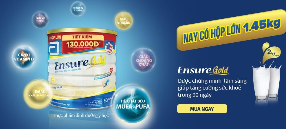 Sữa Ensure Gold 850g nay đã có hộp 1,45kg tiết kiệm hơn