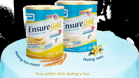 Sữa ensure gold loại ít ngọt có thể dành cho người tiểu đường có 2 vị vani và lúa mạch