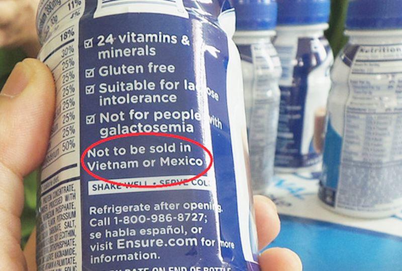 Sữa Ensure nước Original với dòng chữ không bán ở Việt nam và Mexico