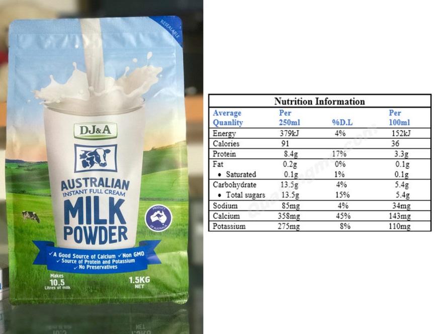 Thành phần dinh dưỡng Sữa DJ&A