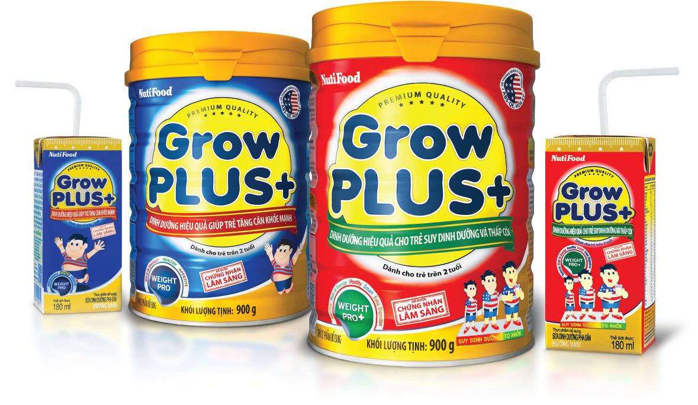 Các dòng sản phẩm Grow Plus của Nutifood