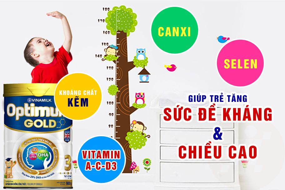 Sữa Optimum Gold 3 tăng sức đề kháng và chiều cao