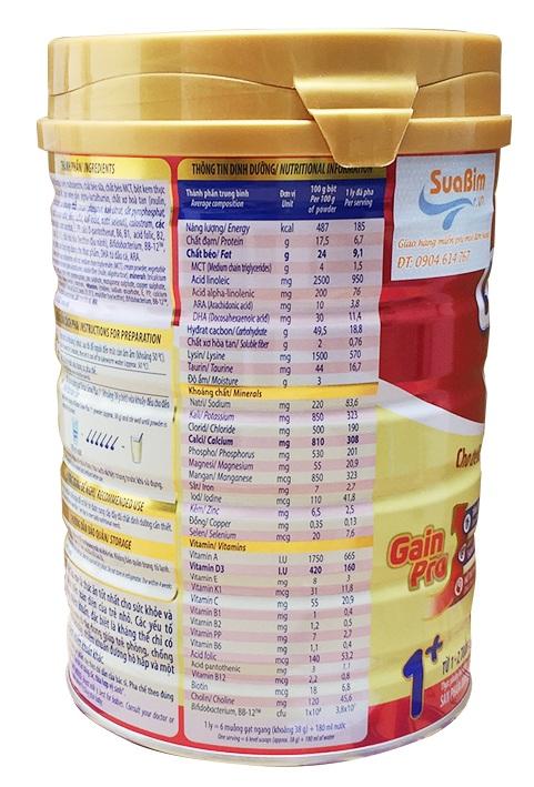 Thông tin dinh dưỡng Grow Plus của Vinamilk