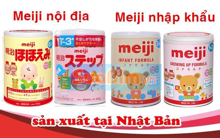So sánh hình thức mẫu mã Sữa Meiji Nhập khẩu và nội địa