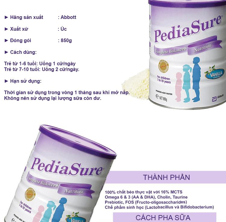 Hướng dẫn cách sử dụng sữa pediasure úc
