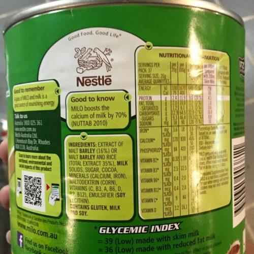 Thành phần dinh dưỡng sữa milo úc