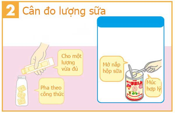 Mở bình sữa meiji thanh lấy sữa và chuẩn bị nước pha