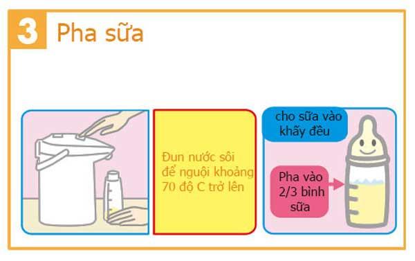 Cho 2/3 lượng nước cần pha vào trong bình và lắc tan sữa
