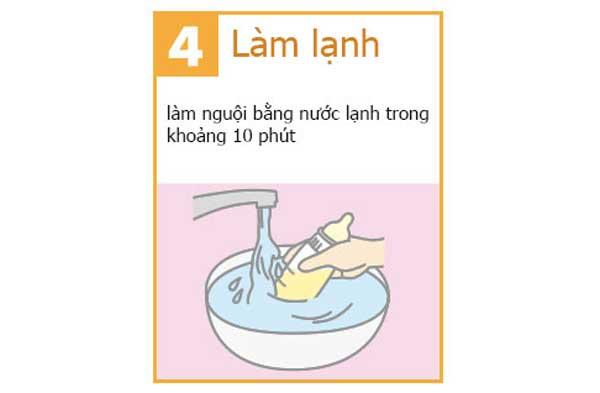 Cho 1/3 lượng nước còn lại vào bình và làm lạnh sữa đến nhiệt độ 37 độ C
