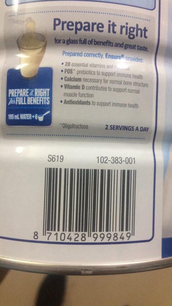 Mã vạch sữa ensure úc